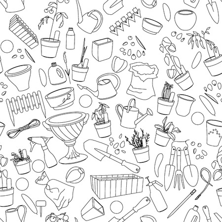 flower pots: Seamless pattern with gardening tools, flower pots,herbs and vegetables. Contour.outline,black-and-white.
