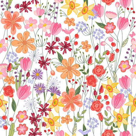 contour: Seamless pattern with bright contour summer flowers Illustration