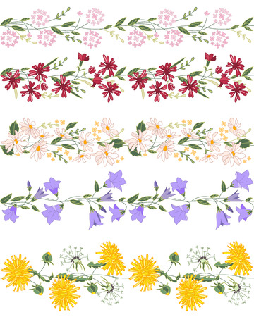 campanula: Seamless pattern brush with stylized bright summer flowers. Endless horizontal texture. Wild flowers - dangelion, daisy, campanula and others