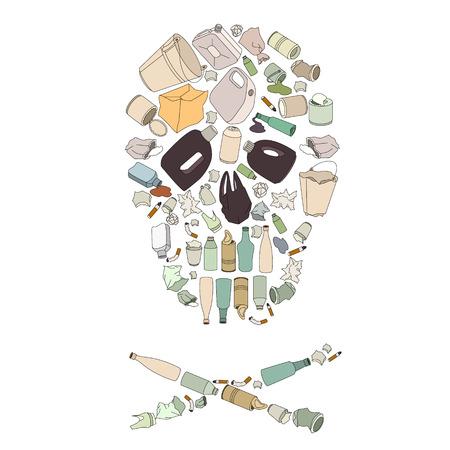 Milieu vervuiling concept beeld. Schedel gek van afval.