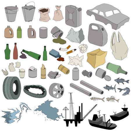 mundo contaminado: Diferentes tipos de basura aislados en blanco Vectores
