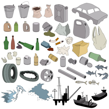 Different kinds of garbage isolated on white