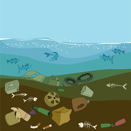 calamiteit: Verontreiniging van het water in de oceaan. Vuilnis en afval. Eco concept. Stock Illustratie