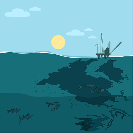oil pollution: Oil platform in the ocean. Water oil pollution.