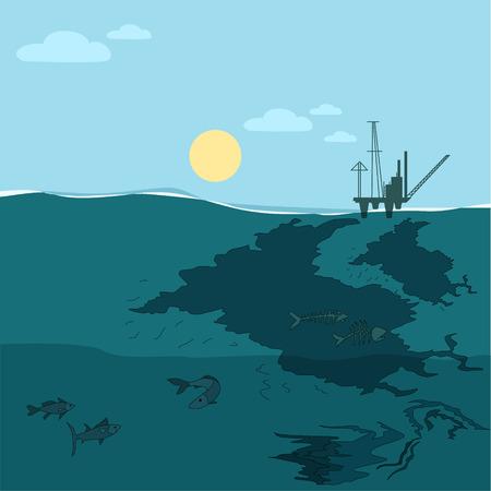Oil platform in the ocean. Water oil pollution.