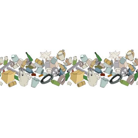 mundo contaminado: Diferentes tipos de basura en blanco. Cepillo Patrón transparente.