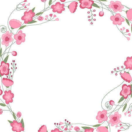 white greeting: Detailed contour square frame with herbs, roses and wild flowers isolated on white. Greeting card for your design, greeting cards, wedding announcements, posters. Illustration