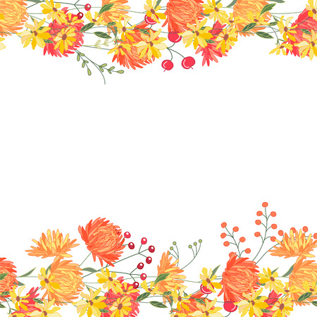 Detailed contour square frame with gerbera and berries. Greeting card template for your design, greeting cards, announcements, posters. Vector