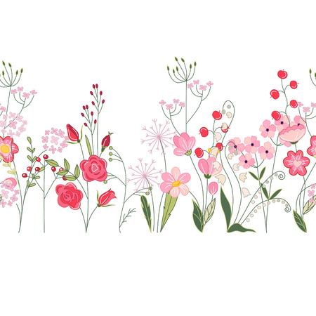 ハーブ、バラや野生の花のシームレスなパターン ブラシ。あなたのデザイン、グリーティング カード、結婚式の発表、ポスターの無限の水平テクス