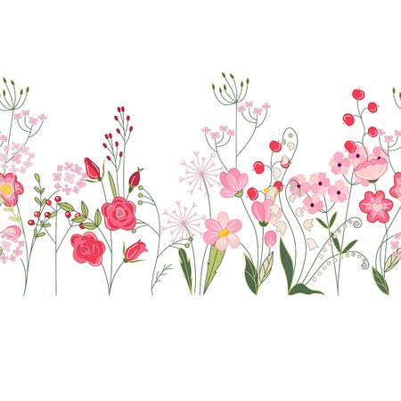 Seamless pattern brush with herbs, roses and wild flowers. Endless horizontal texture for your design, greeting cards, wedding announcements, posters.