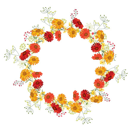 Detailed contour wreath  with gerbera and berries isolated on white. Round frame  for your design, greeting cards, announcements, posters. Vector