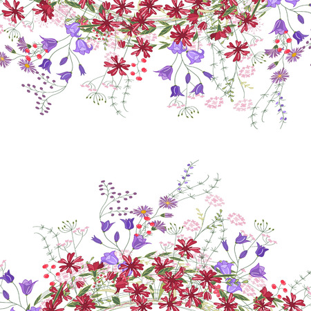 modest: Detailed contour square frame with herbs, bluebells and wild flowers isolated on white. Greeting card for your design, greeting cards, wedding announcements, posters.