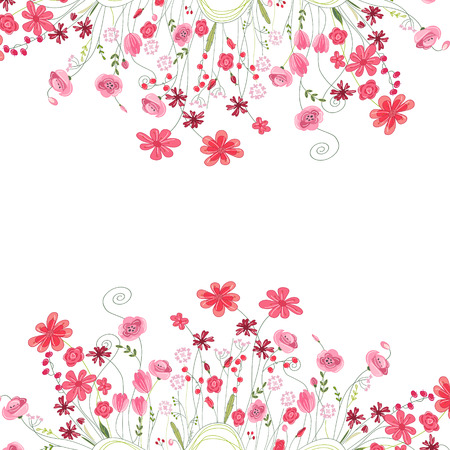 Detailed contour square frame with herbs, roses and wild flowers isolated on white. Greeting card for your design, greeting cards, wedding announcements, posters.  イラスト・ベクター素材