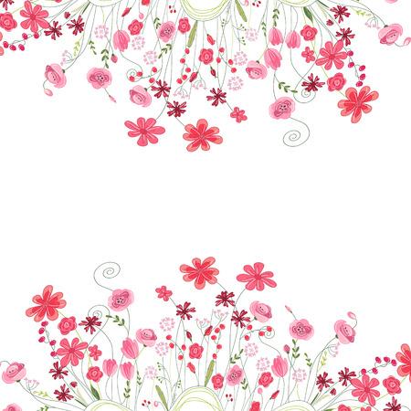 Contorno dettagliato cornice quadrata con erbe, rose e fiori selvatici isolati su bianco. Biglietto di auguri per la progettazione, biglietti di auguri, annunci di matrimonio, manifesti. Archivio Fotografico - 40350157