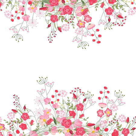 Detailed contour square frame with herbs, roses and wild flowers isolated on white. Greeting card for your design, greeting cards, wedding announcements, posters. Çizim