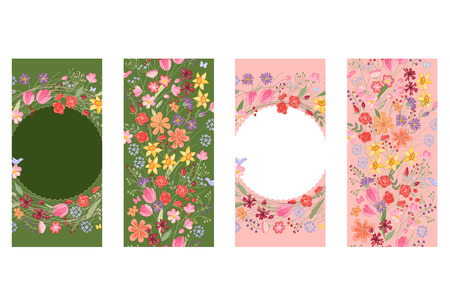 modest: Vertical floral templates. Dark green and pink color. Contour flowers.