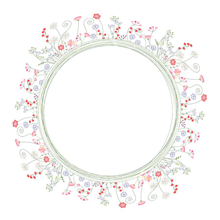 herbage: Detailed contour wreath with berries and herbs isolated on white. Round frame for your design, greeting cards, announcements, posters. Illustration