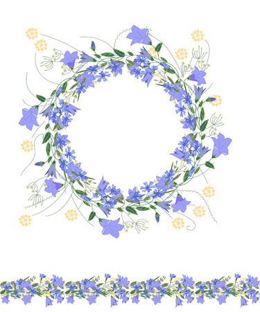 Detailed contour wreath and seamless pattern brush withbluebells and herbs isolated on white. Endless horizontal texture for your design, greeting cards, announcements, posters. Illustration