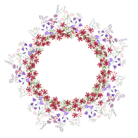 herbage: Detailed contour wreath with bluebells, carnations and wild flowers isolated on white. Round frame for your design, greeting cards, announcements, posters.