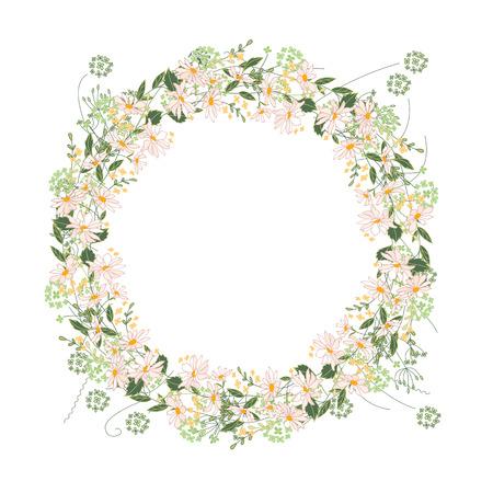 marguerite: Détail couronne de contour avec des herbes, marguerite et de fleurs sauvages isolé sur blanc. Cadre rond pour votre conception, cartes de v?ux, des annonces, des affiches. Illustration