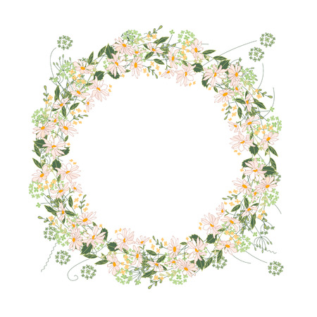 modest: Detailed contour wreath with herbs, daisy and wild flowers isolated on white. Round frame for your design, greeting cards, announcements, posters.