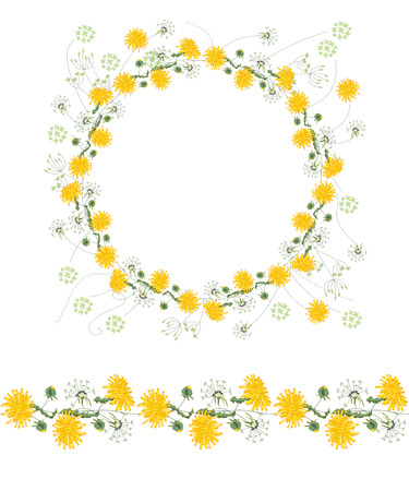 herbage: Detailed contour wreath and seamless pattern brush with dangelions and herbs isolated on white. Endless horizontal texture for your design, greeting cards, announcements, posters.
