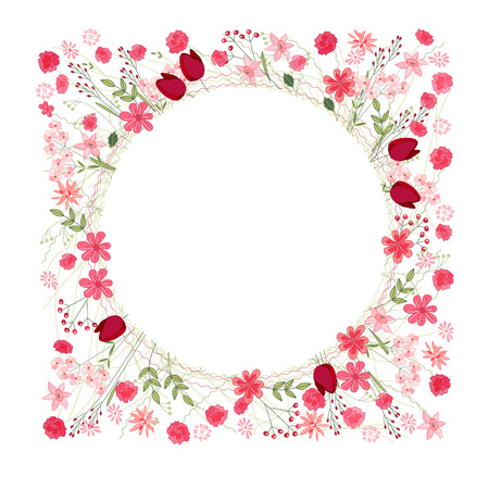 herbage: Detailed contour wreath with herbs, tulips and wild flowers isolated on white. Round frame for your design, greeting cards, announcements, posters.