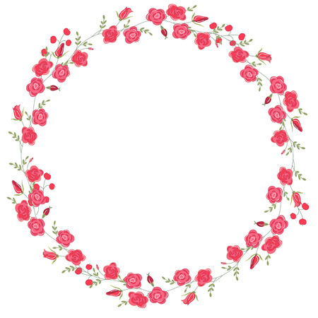 Detailed contour wreath with herbs, roses and wild flowers isolated on white. Round frame for your design, greeting cards, wedding announcements, posters.