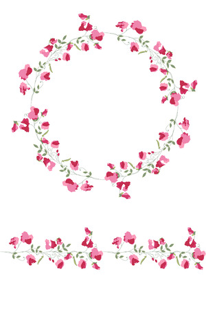 sweet pea: Detailed contour wreath and seamless pattern brush with sweet peas isolated on white. Endless horizontal texture for your design, greeting cards, announcements, posters. Illustration