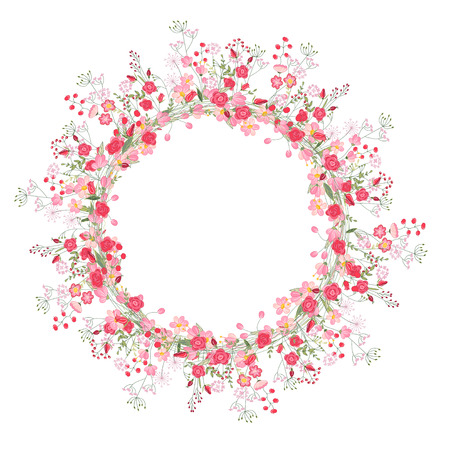 wild herbs: Detailed contour wreath with herbs, roses and wild flowers isolated on white. Round frame for your design, greeting cards, wedding announcements, posters.