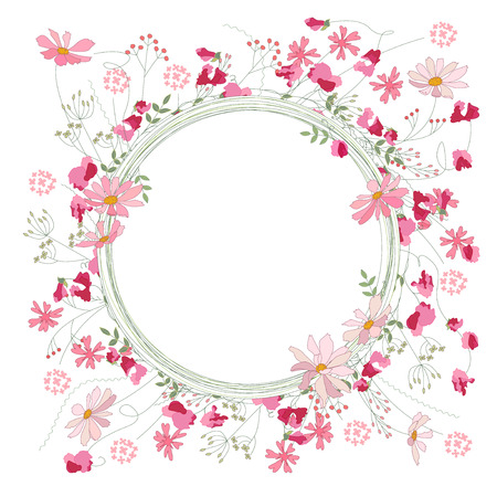 sweet pea: Detailed contour wreath with herbs, sweet peas and wild flowers isolated on white. Round frame for your design, greeting cards, wedding announcements, posters.