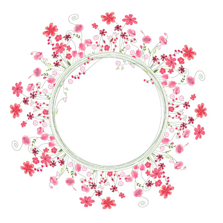 herbage: Detailed contour wreath with herbs and red flowers isolated on white. Round frame for your design, greeting cards, wedding announcements, posters.