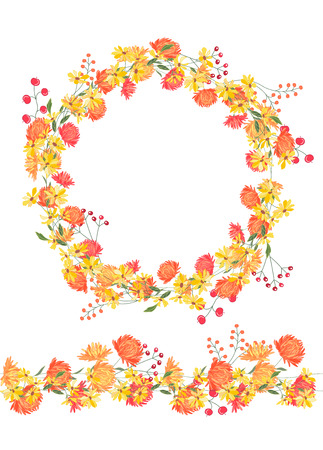 Detailed contour wreath and seamless pattern brush with asters and berries isolated on white. Endless horizontal texture for your design, greeting cards, announcements, posters. Vector