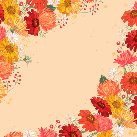 aster: Backdrop with gerbera, berries and aster. Red and yellow color.