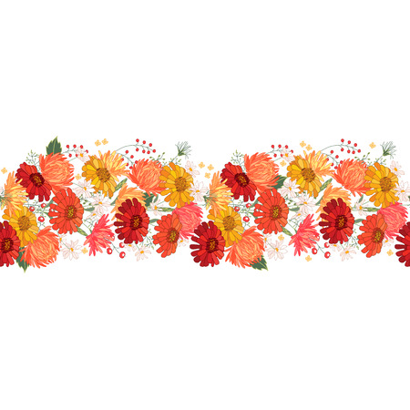orange gerbera: Seamless pattern brush with gerbera and asters. Endless texture. Illustration
