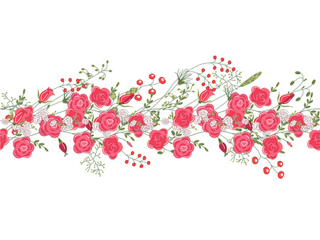 Seamless pattern brush with roses and herbs.. Endless texture.