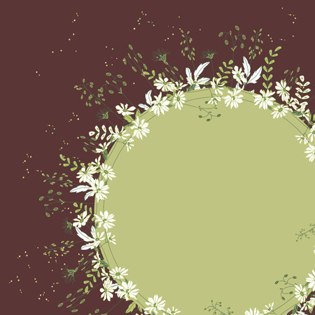 Round frame with herbs and flowers. Green and brown color.