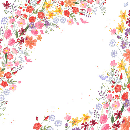 field of flowers: Vintage square frame with contour field flowers on white