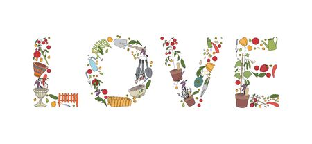 Title Love made of garden tools, vegetables and plants. Illustration