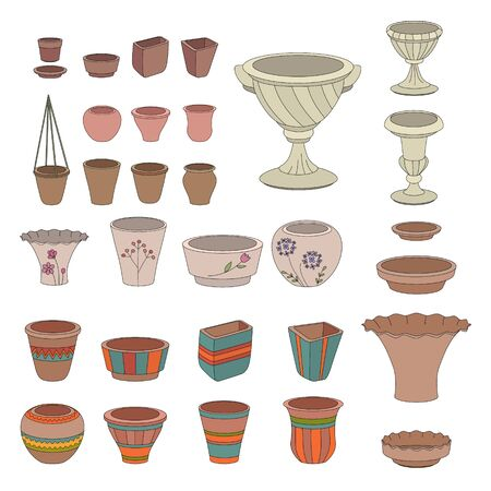 flowerpots: Gardening flowerpots. Pots for plants growing on window sills isolated on white