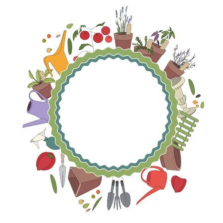 Round frame with gardening tools and plants on white. Herbs, vegetables and accessories for farming Vector