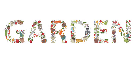 horticultural: Title Garden made of garden tools and plants on white. Illustration