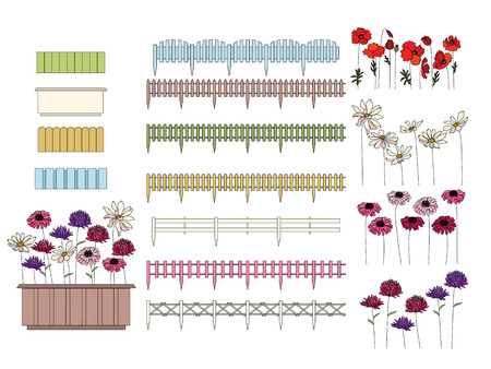balcony window: Flowers in containers growing at window sills and balcony. Fence is seamless pattern brush Illustration