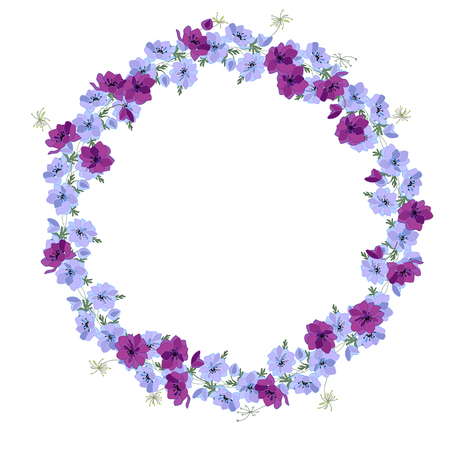 Detailed contour wreath with anemone flowers isolated on white. Round frame for your design, greeting cards, announcements, posters.