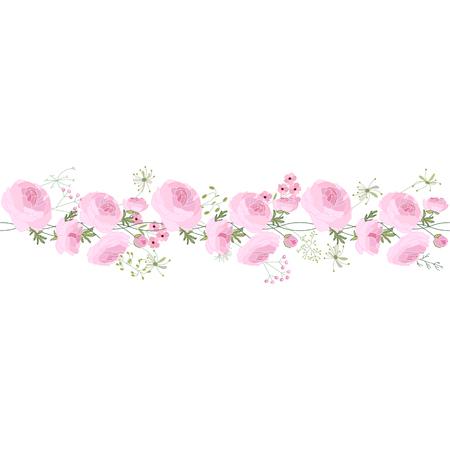 horizontal: Seamless pattern brush with ranunculus, stylized summer flowers.