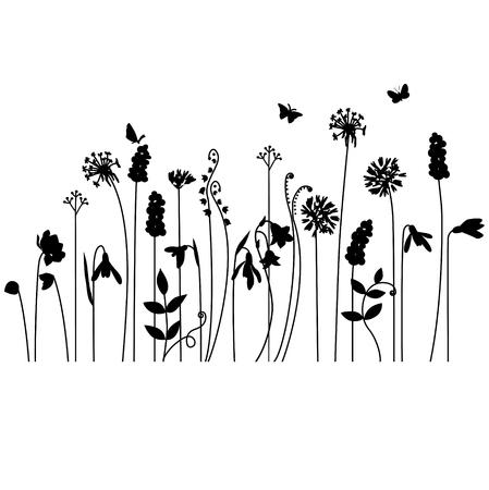 Naadloos patroon borstel met gestileerde zomerbloemen. Endless horizontale structuur. Contour, outline.Black silhouet. Stock Illustratie