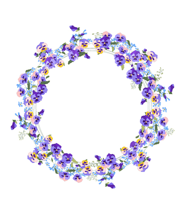 modest: Detailed contour wreath with forget-me-nots and viola flowers isolated on white.