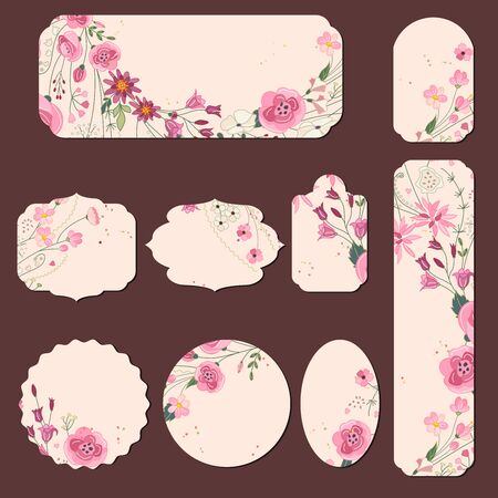 Collection with different paper labels for wedding announcements. Round,square,rectangular, different shapes. Red and pink flowers. Roses and herbs. Illustration