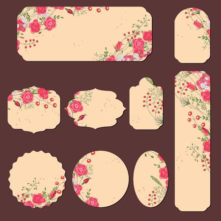 marcos redondos: Colección con diferentes etiquetas de papel para anuncios de boda. Redondo, cuadrado, rectangular, de diferentes formas. Flores de color rosa y bayas rojas y. Rosas y hierbas.