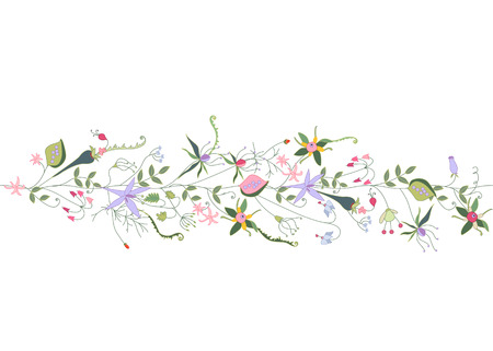 modest: Seamless pattern brush with stylized summer flowers. Endless horizontal texture. Contour, outline.